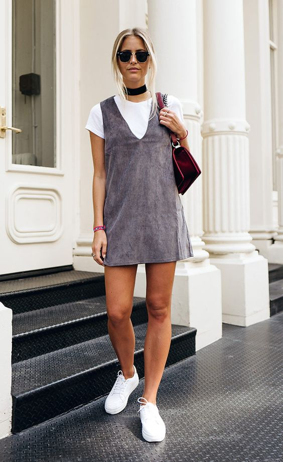 pinafore dress gray suede