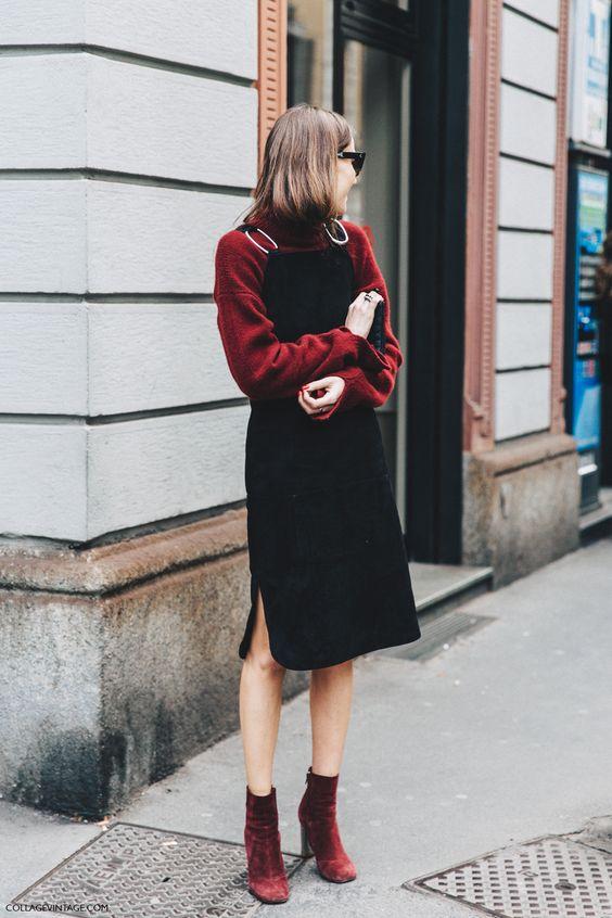 pinafore dress velvet black
