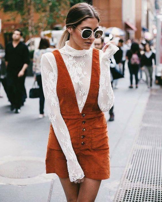 pinafore dress orange corduroy