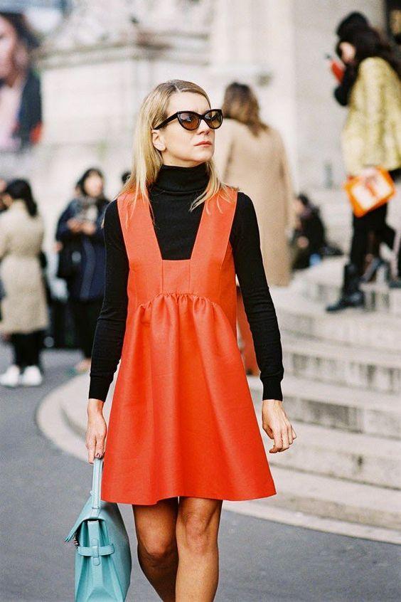 pinafore bright orange dress