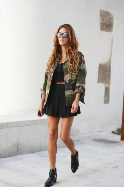 black crop top plaid mini skirt camo jacket