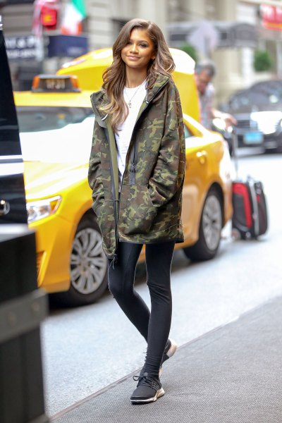 oversized camo jacket with tights