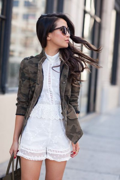 white lace blouse shorts camo jacket