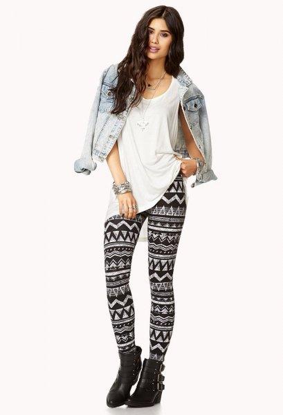 denim jacket oversized tee-backed leggings