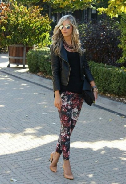 flowers leggings black leather jacket