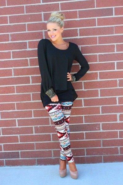 oversized long sleeve black t-shirt floral leggings