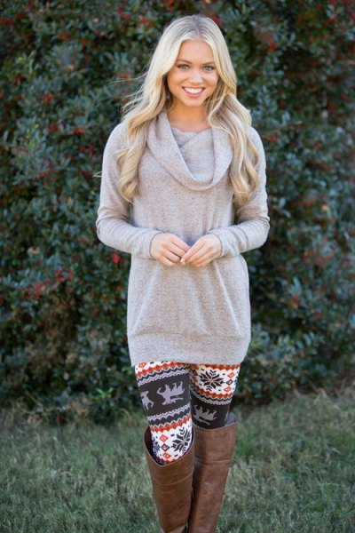 gray cowl neck sweater floral printed leggings