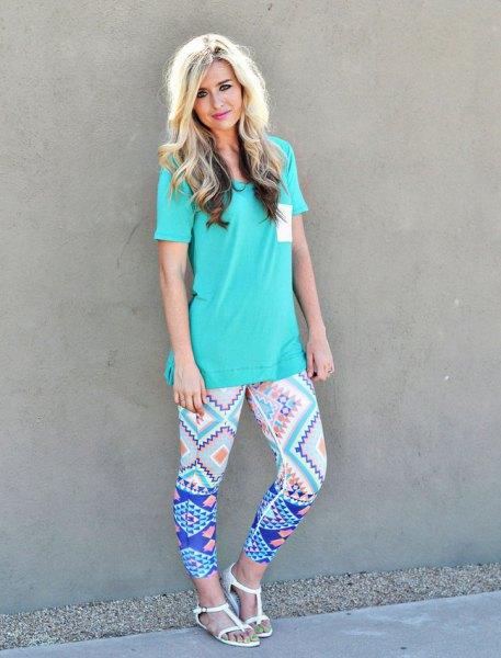 blue print leggings tiffany t-shirt