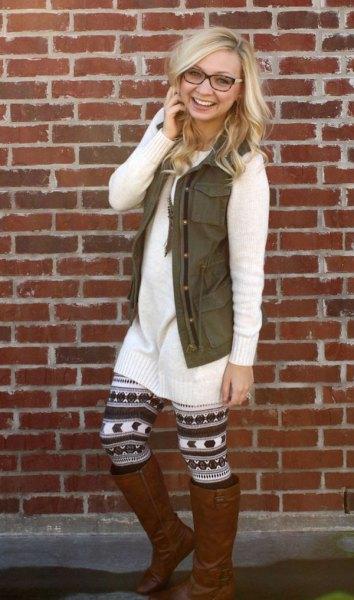 white knit sweater dress printed leggings