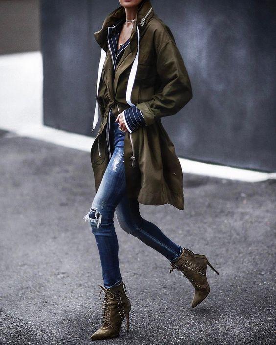 khaki jacket lace boots