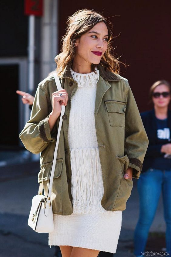 khaki jacket white dress