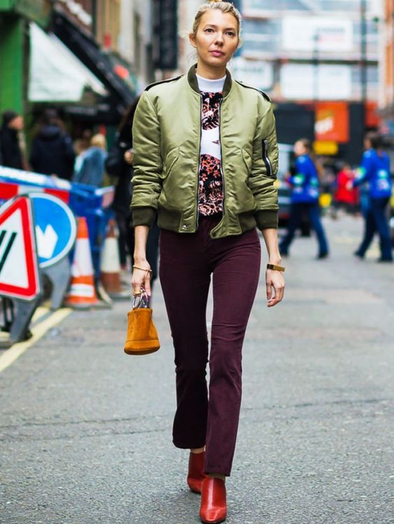 khaki jacket burgundy pants