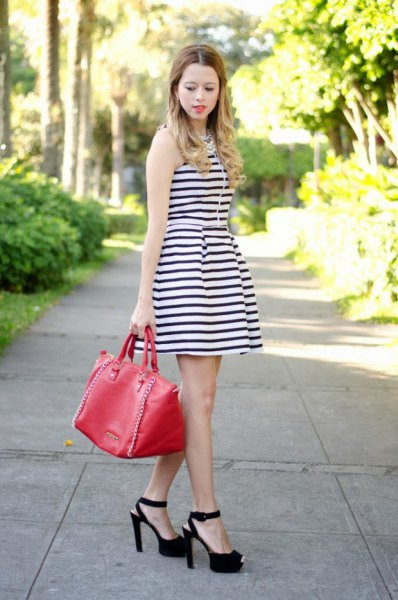 sleeveless striped dress with open toe heels