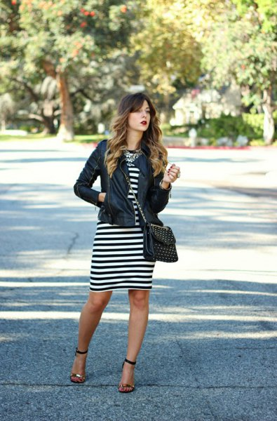 black leather jacket black and striped dress
