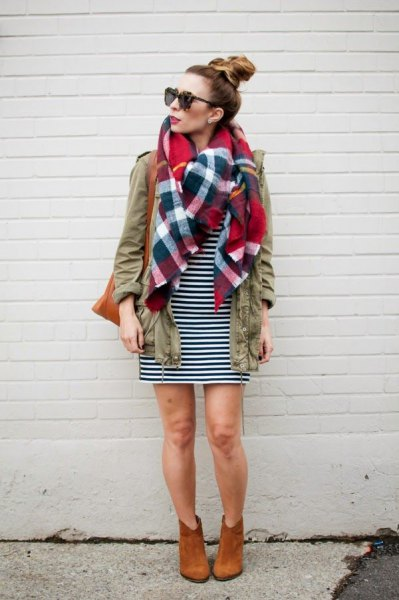 cargo jacket checkered linen scarf black white striped dress