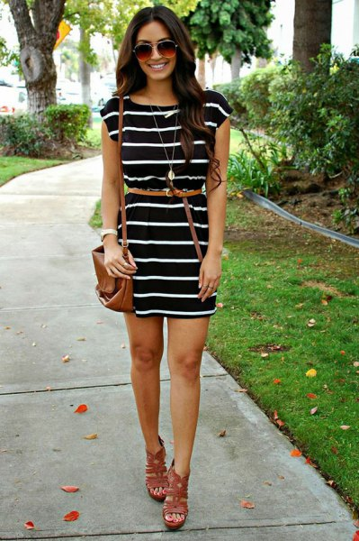 black and white striped dress with thin belt