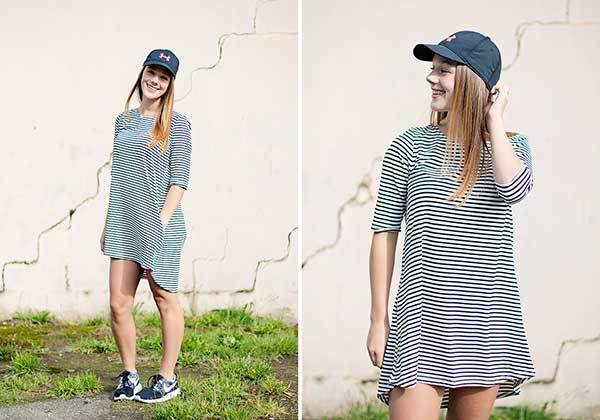 baseball cap sneakers striped tee dress