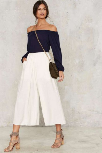white plaid culottes from shoulder black top
