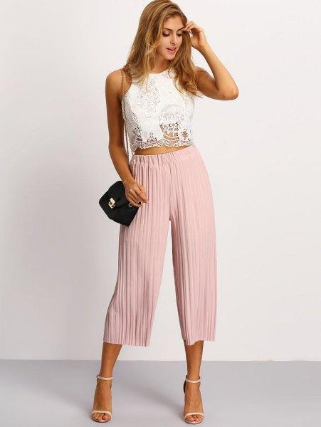 white lace crop top pale pink plaid culottes