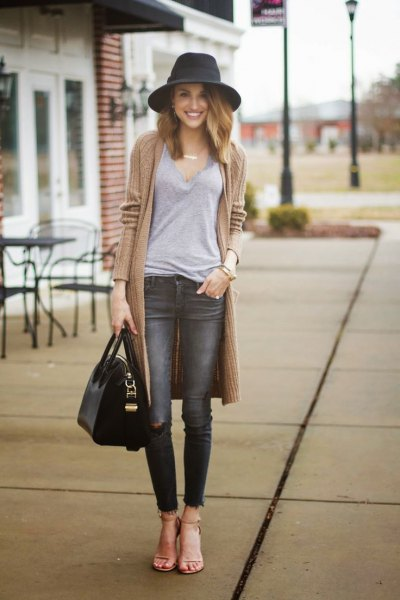 gray jeans long cardigan outfit