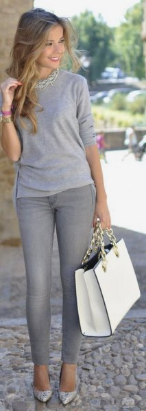 long sleeve gray tee statement necklace