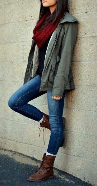 brown combat army jacket skinny jeans