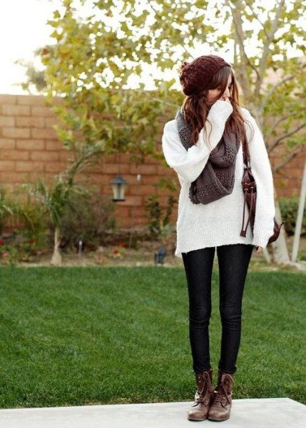 comfortable white knitted sweaters brown combat boots