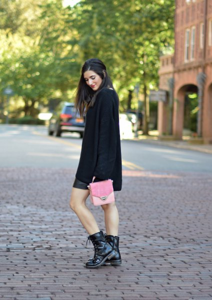 black combat shoes black knitted sweater leather skirt