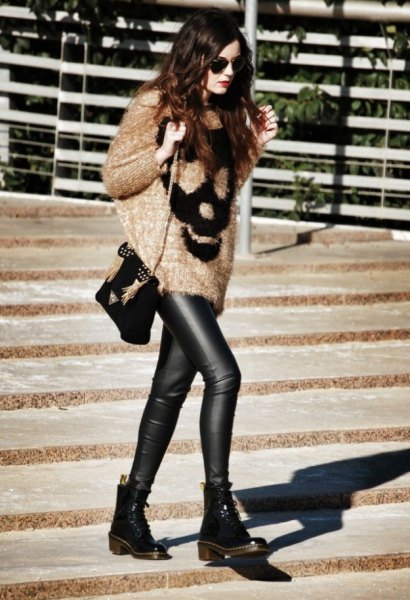 oversized fluffy knitted sweaters of leather