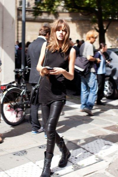 sleeveless top leather leggings
