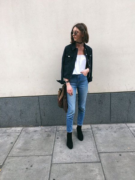 of off-white blouse black denim jacket