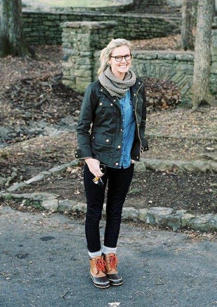 black cargo jacket denim shirt hiking shoe