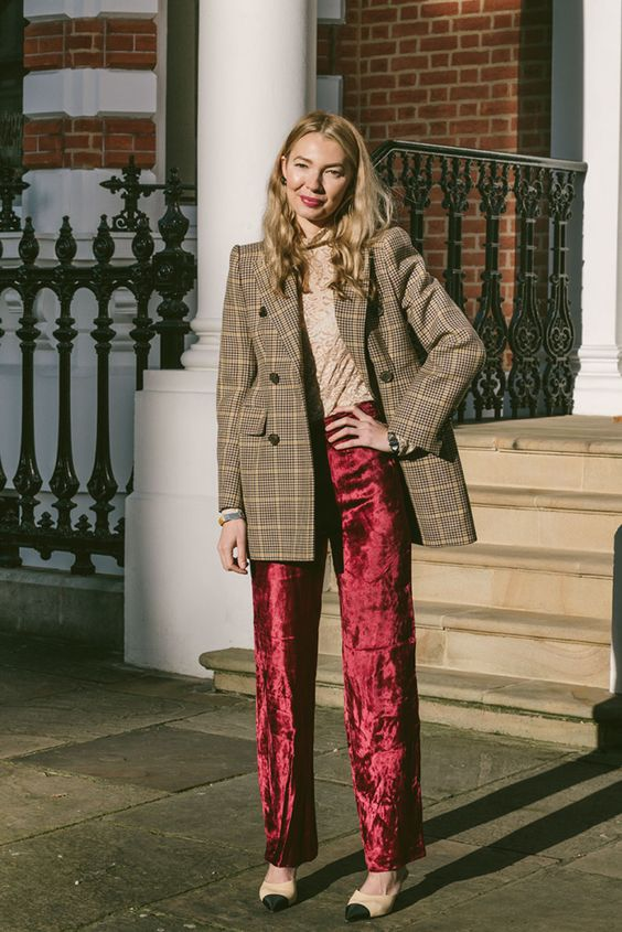 red velvet pants checkered blazer