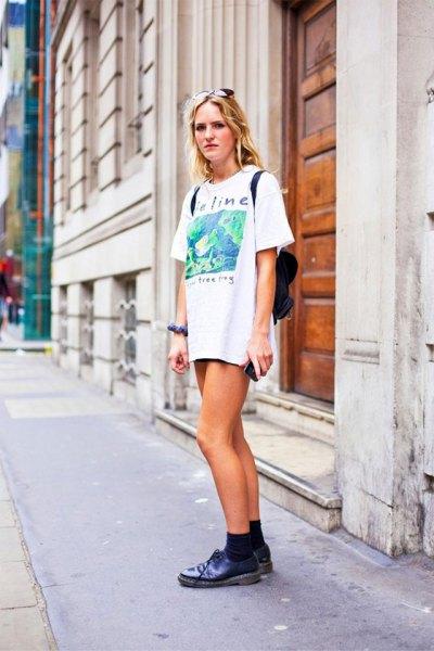 t-shirt dress denim shorts outfit ideas