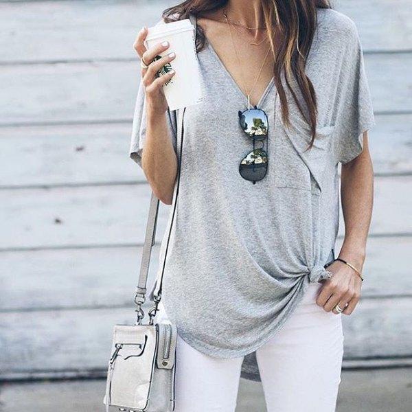 knotted v-neck t-shirt white skinny jeans