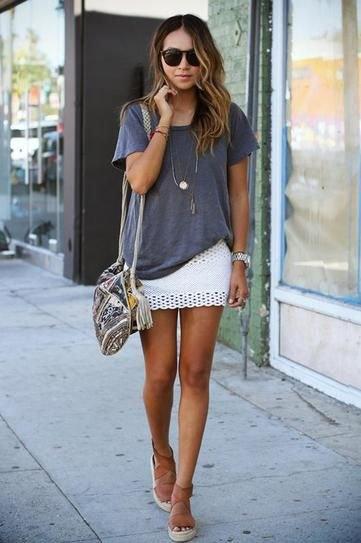 partially tucked big shirt white skirt
