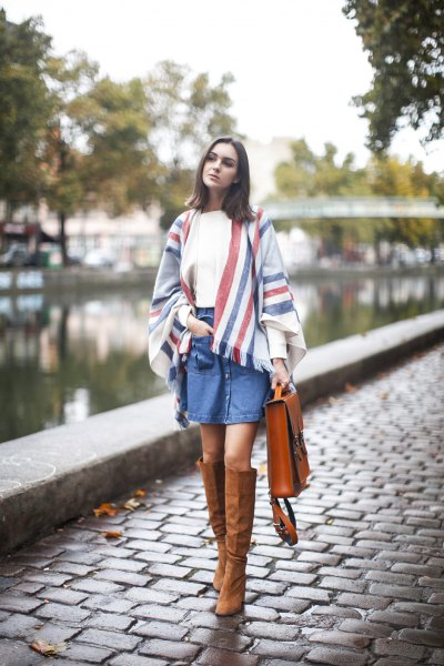 white tee denim shirt blanket scarf suede boots