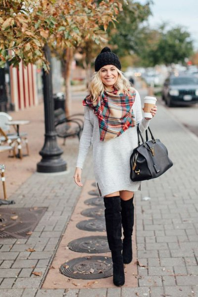 white sweater dress checkered scarf outfit