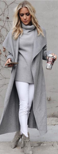 gray high neck jacket and sweater