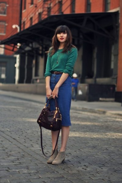 green knit sweater with waist denim skirt with high waist