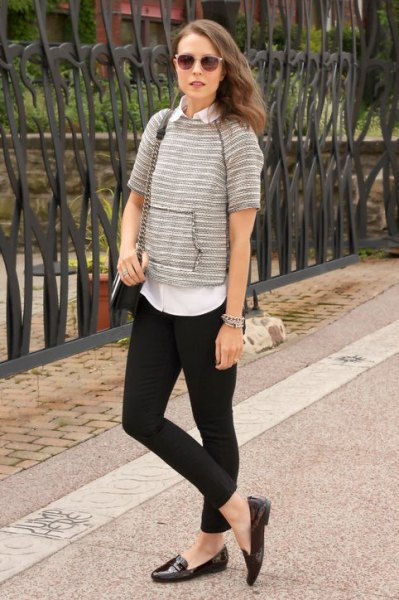 button up shirt black leggings loafers