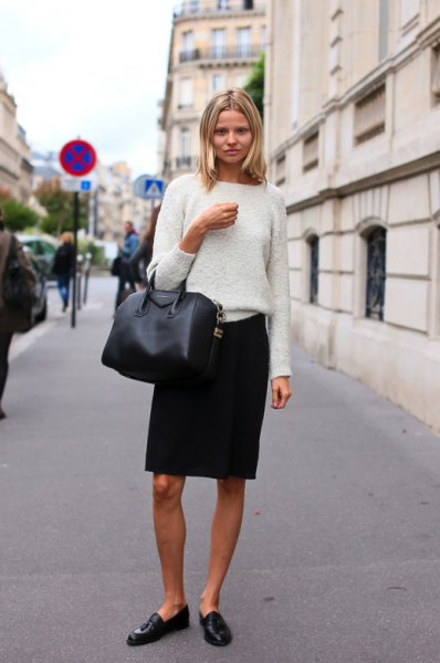 white fluffy top pencil skirts