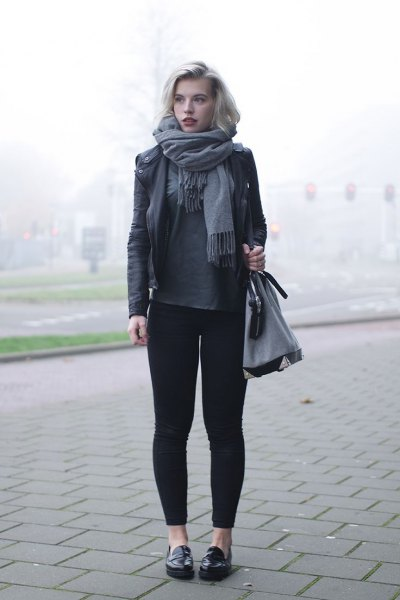 black leather jacket gray leggings loafers