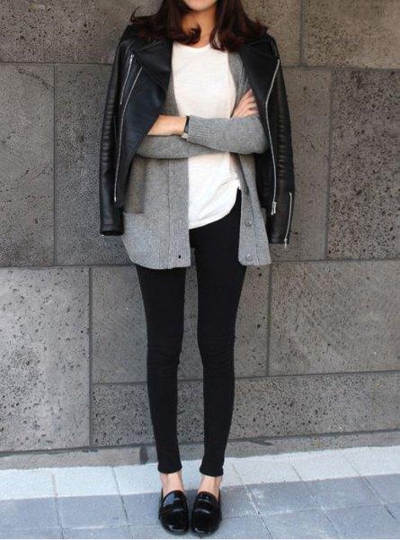 gray cardigan leggings loafers