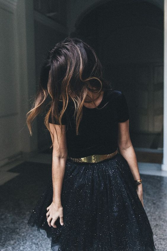 chiffon skirt black sequins