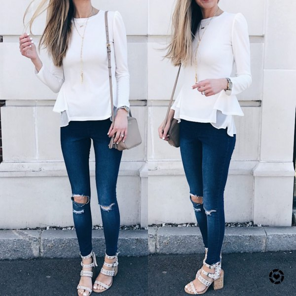 white long sleeve peplum ripped jeans