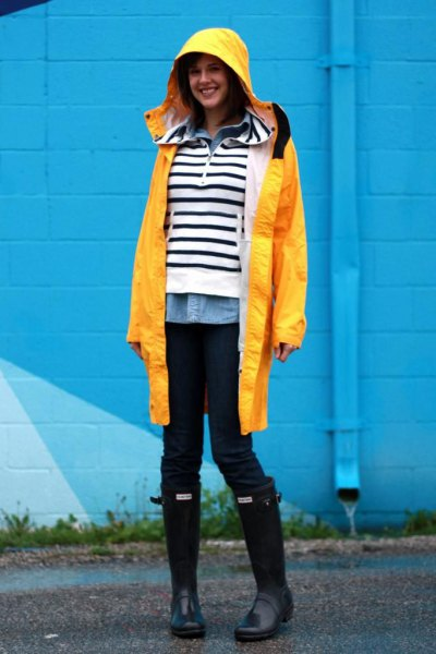 blue shirt black and white striped sweater raincoat
