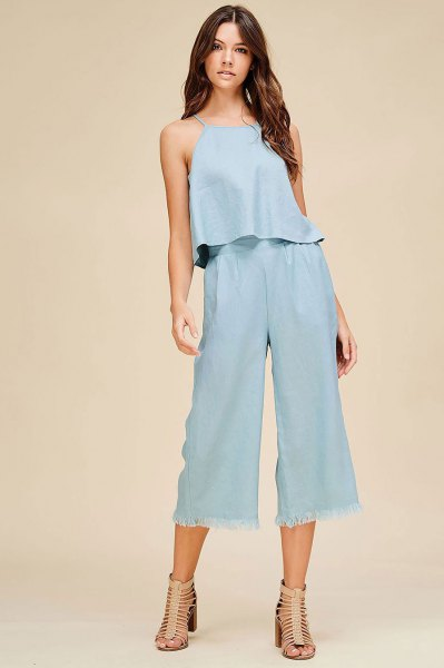 two piece outfit set linen top cropped trousers