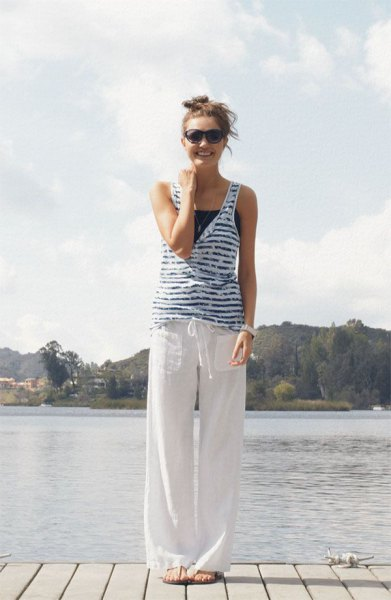 striped blue and white vests in top linen