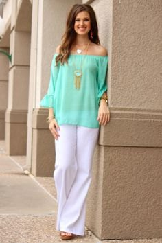 of the shoulder chiffon blouse pants